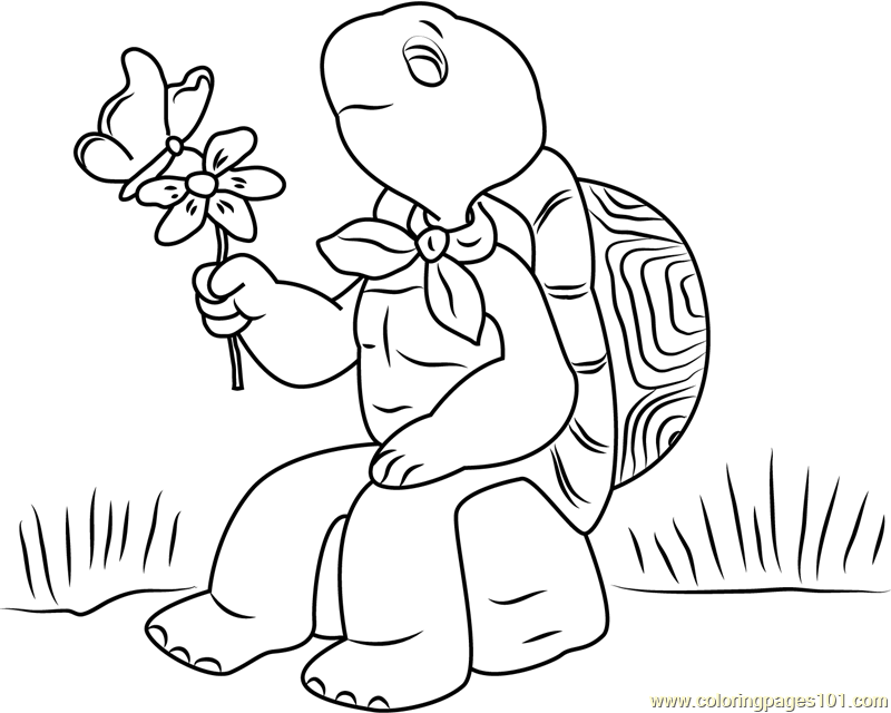 Franklin with Flower and Butterfly Coloring Page