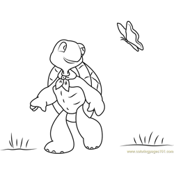 Franklin Playing with Butterfly Free Coloring Page for Kids