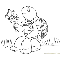 Franklin with Flower and Butterfly Free Coloring Page for Kids