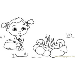 Franny's Sitting on Rock Free Coloring Page for Kids