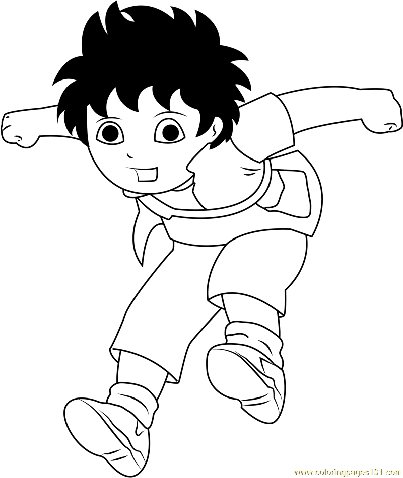 jump coloring pages for kids | Diego Jumping Coloring Page - Free Go, Diego, Go! Coloring ...