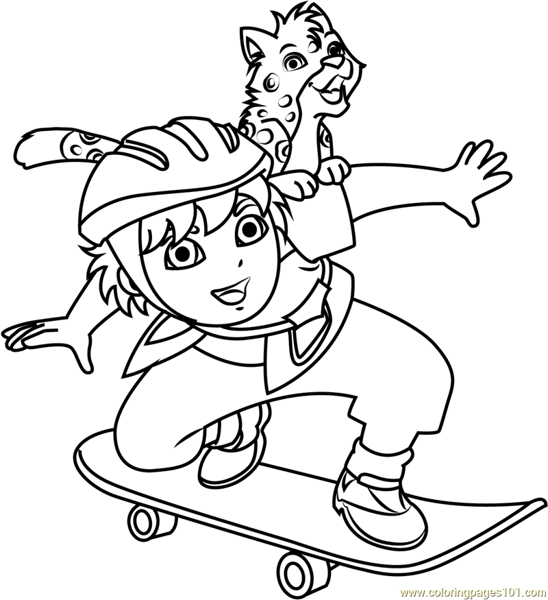 Diego Marquez Play Skateboarding Coloring Page