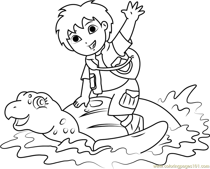 Diego Sitting on Tortoise Coloring Page