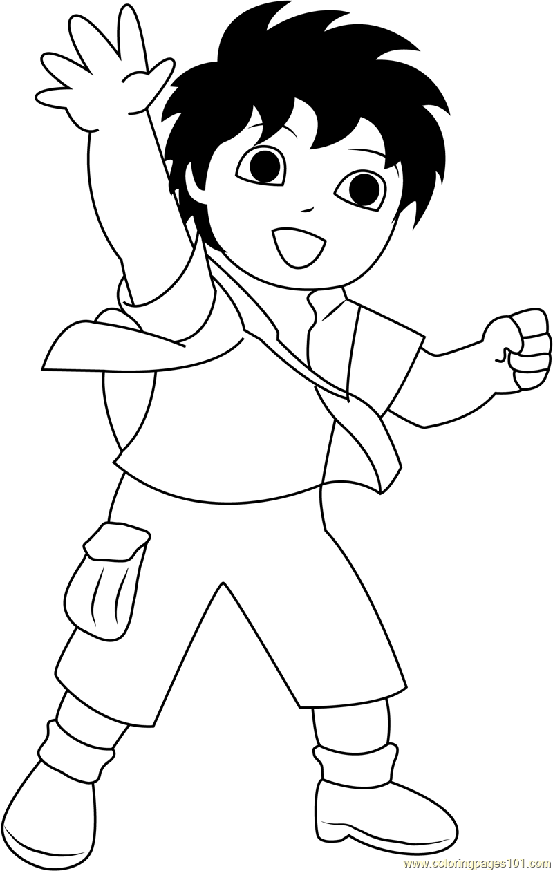 Diego Say Hi Coloring Page Free Go Diego Go Coloring