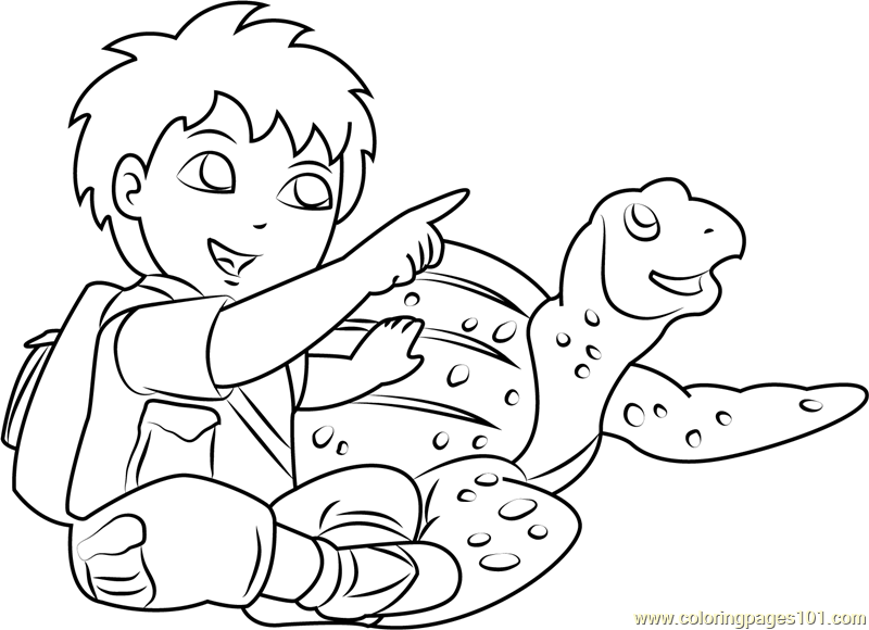Diego with Tortoise Coloring Page