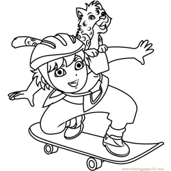 Diego Marquez Play Skateboarding Free Coloring Page for Kids