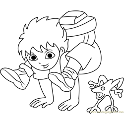 Diego Marquez with Frog Free Coloring Page for Kids