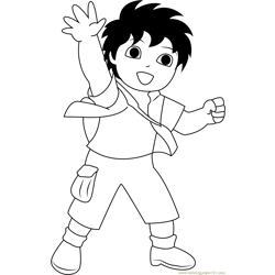 Diego say Hi Free Coloring Page for Kids