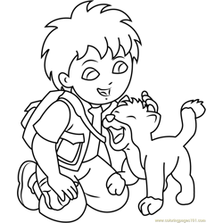 Diego with Baby Jaguar Free Coloring Page for Kids