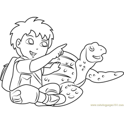 Diego with Tortoise Free Coloring Page for Kids
