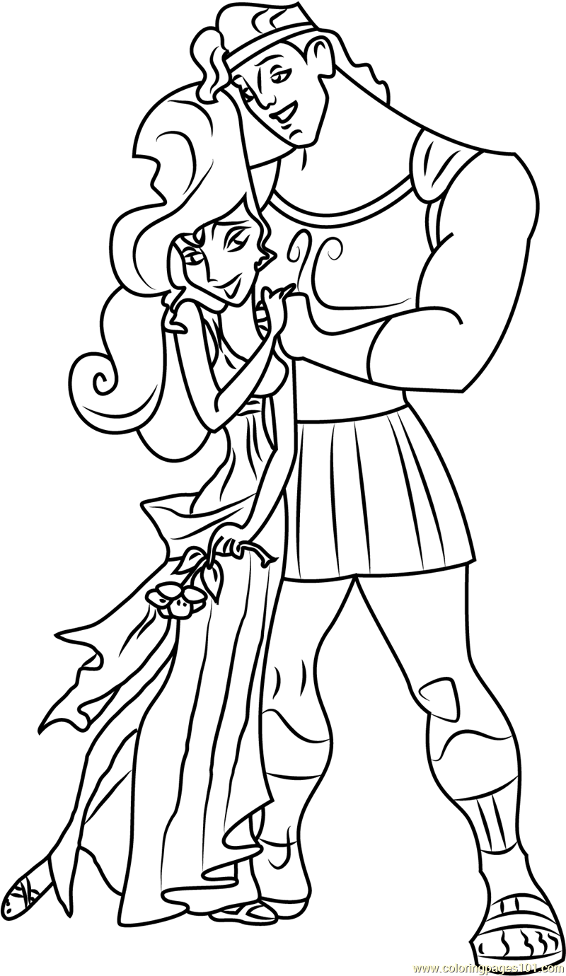 Hercules Hugs Megara Coloring Page Free Hercules Coloring