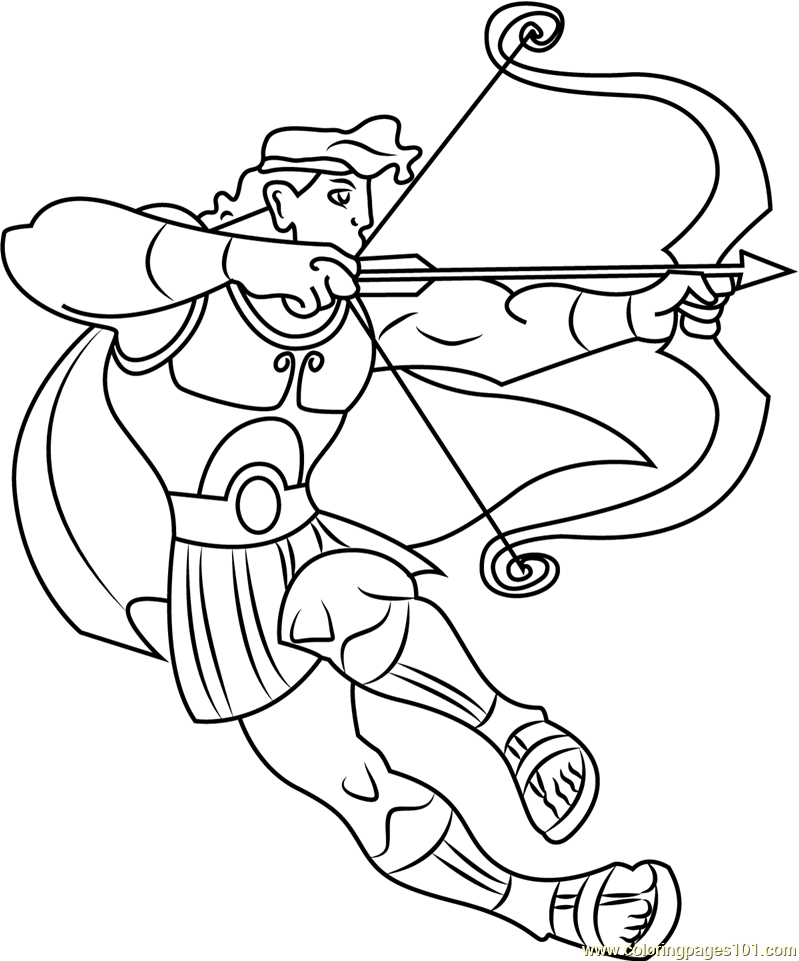 Hercules Ready to Fight with Bow and Arrow Coloring Page Free Hercules Coloring Pages