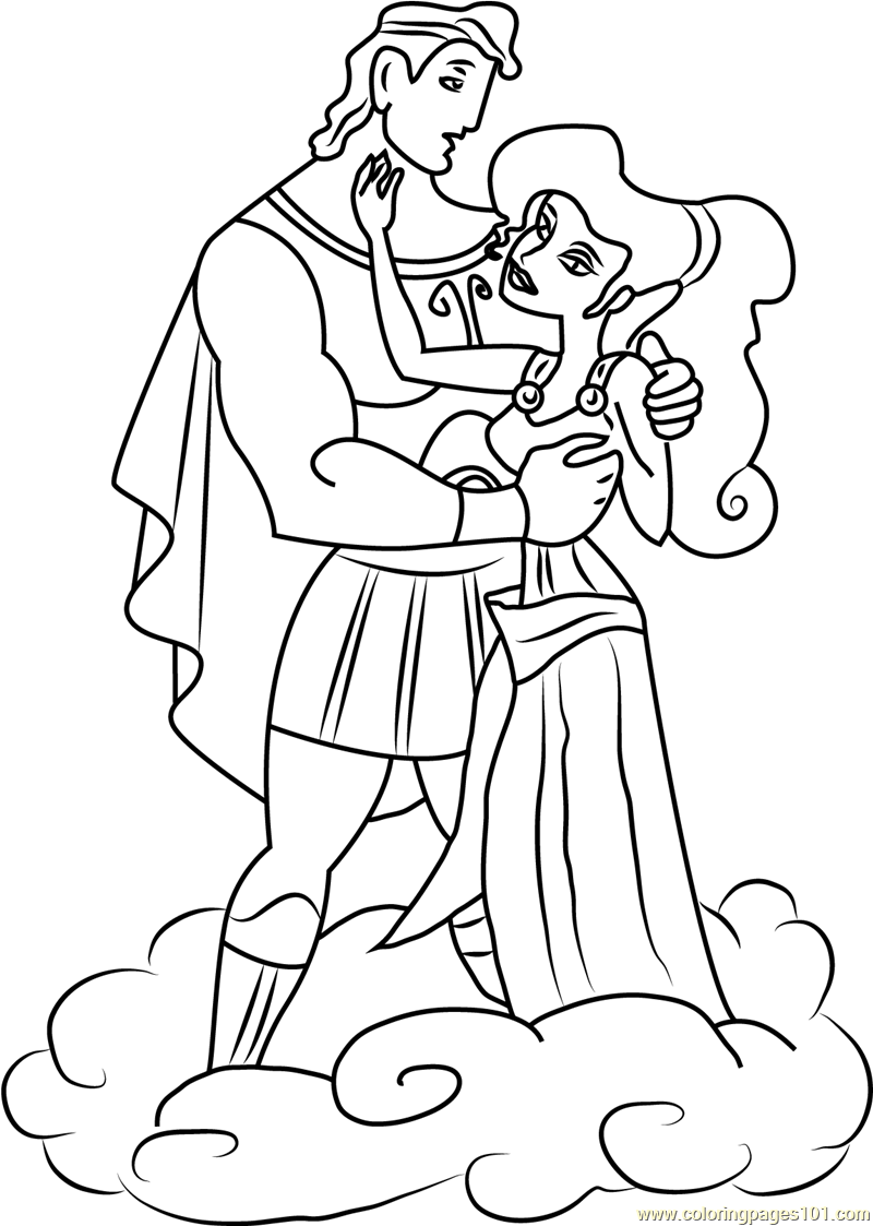 Hercules and Megara are in Love Coloring Page Free