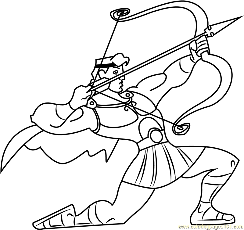 hercules with bow and arrow coloring page