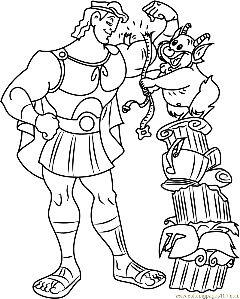 Hercules with Philoctetes Coloring