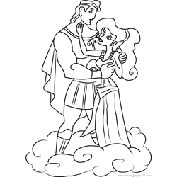 Hercules and Megara are in Love Free Coloring Page for Kids