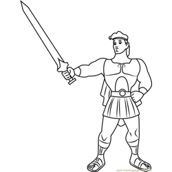 Hercules show his Sword coloring page