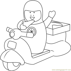Pizza Delivery Free Coloring Page for Kids