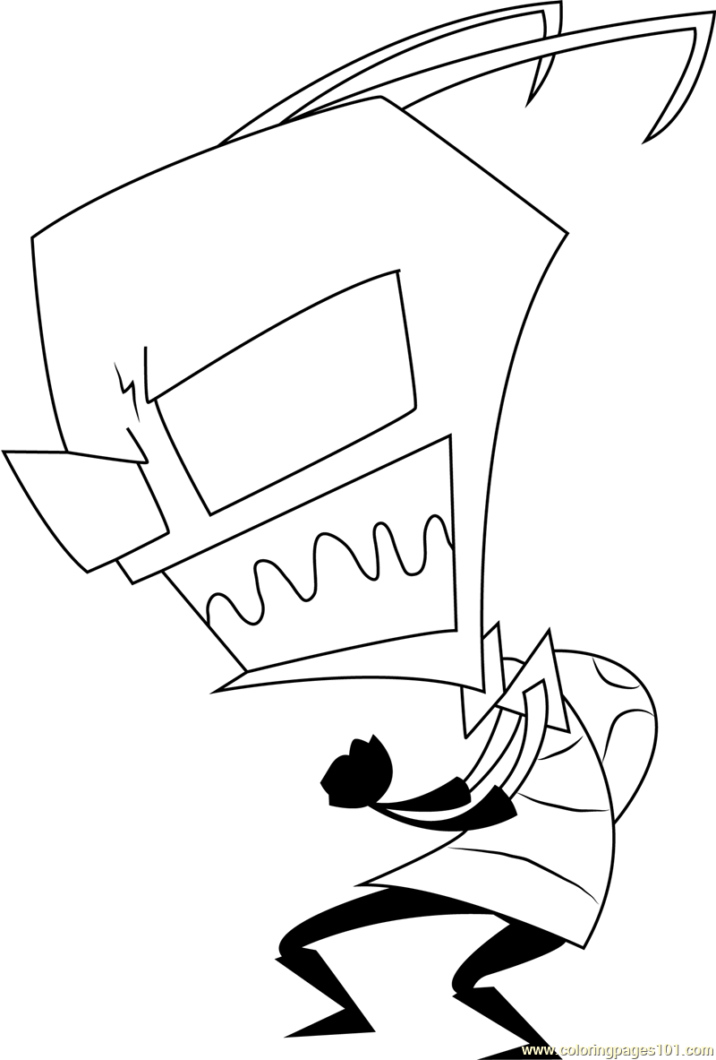 Angry Zim Coloring Page Free Invader Zim Coloring Pages