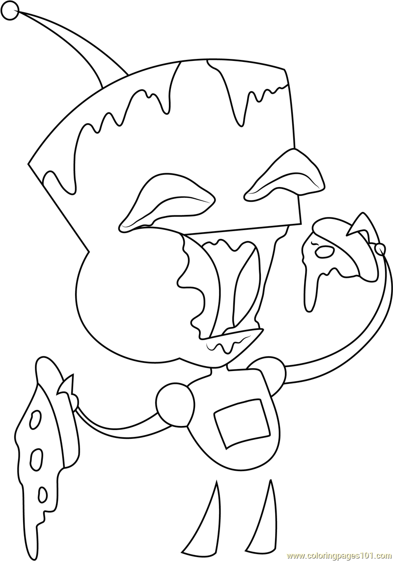 Gir Eating Pizza Coloring Page For Kids Free Invader Zim Printable Coloring Pages Online For Kids Coloringpages101 Com Coloring Pages For Kids