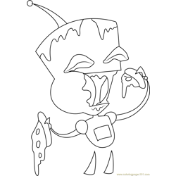 Gir Eating Pizza Free Coloring Page for Kids