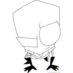 Invader Zim at Home Free Coloring Page for Kids