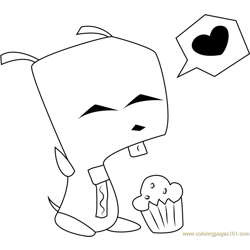 Invader Zim with Cupcakes Free Coloring Page for Kids