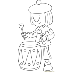 Jojo play Drums Free Coloring Page for Kids