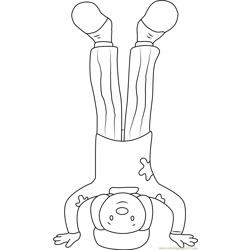 Jojo stand on his Head Free Coloring Page for Kids