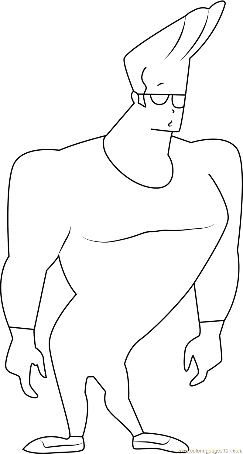 johnny bravo looking someone coloring page