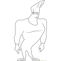 Johnny Bravo Looking Someone Free Coloring Page for Kids