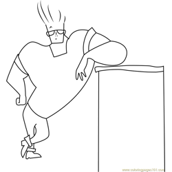 Johnny Bravo Standing Free Coloring Page for Kids