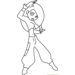 Kim Possible Play Karate Free Coloring Page for Kids