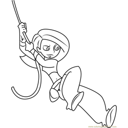 Kim Possible with Rope Free Coloring Page for Kids