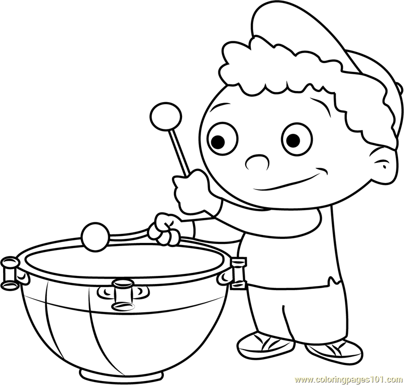 Quincy play Drums Coloring Page