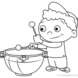 Quincy play Drums Free Coloring Page for Kids