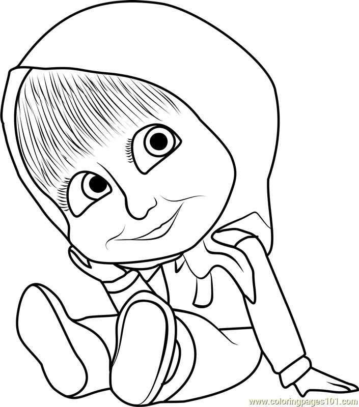 Baby Masha Coloring Page