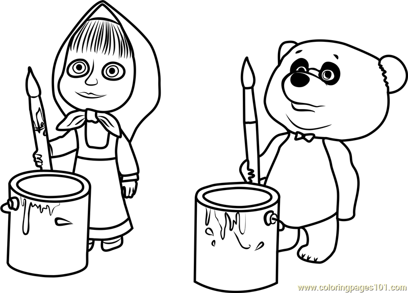 Masha and Panda Coloring Page Free Masha and the Bear Coloring