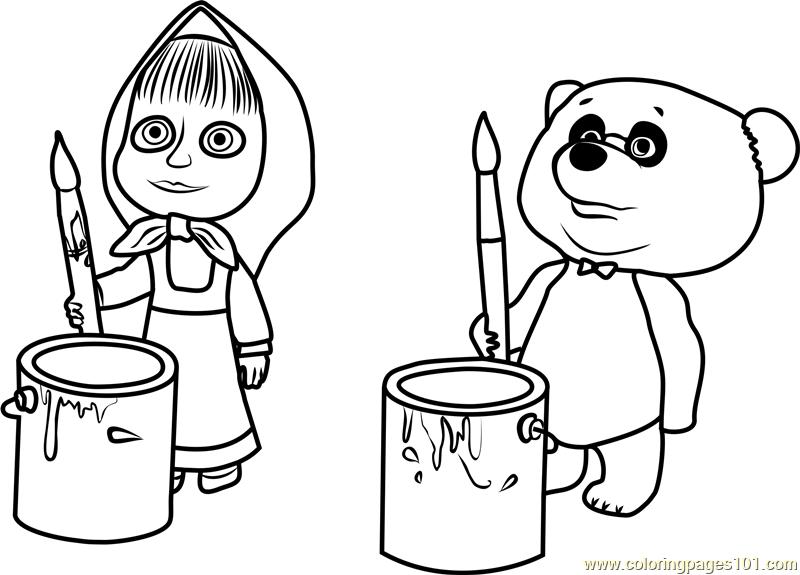 Masha And Panda Coloring Page
