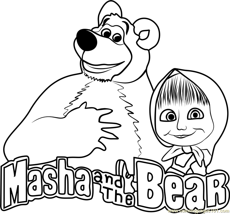 Masha and the Bear Coloring Page Free Masha and the Bear