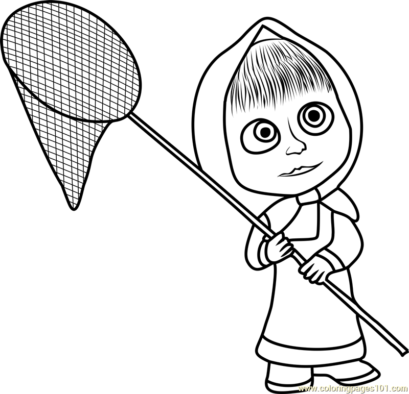 Masha with Net Coloring Page
