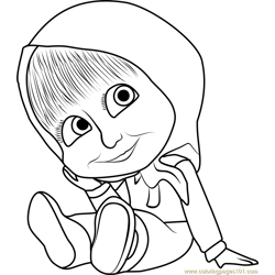 Baby Masha Free Coloring Page for Kids