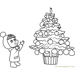 Baby Masha on Christmas Free Coloring Page for Kids