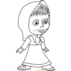 Masha Excited Free Coloring Page for Kids