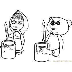 Masha and Panda coloring page