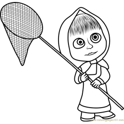 Masha with Net Free Coloring Page for Kids