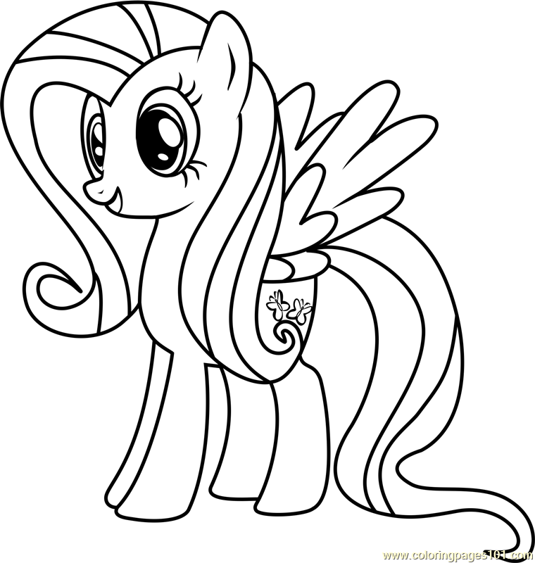 Fluttershy Coloring Page Free My Little Pony Friendship Is