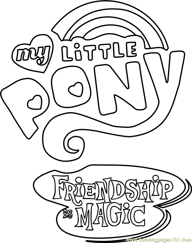 My Little Pony Friendship Is Magic Logo Printable Coloring Page