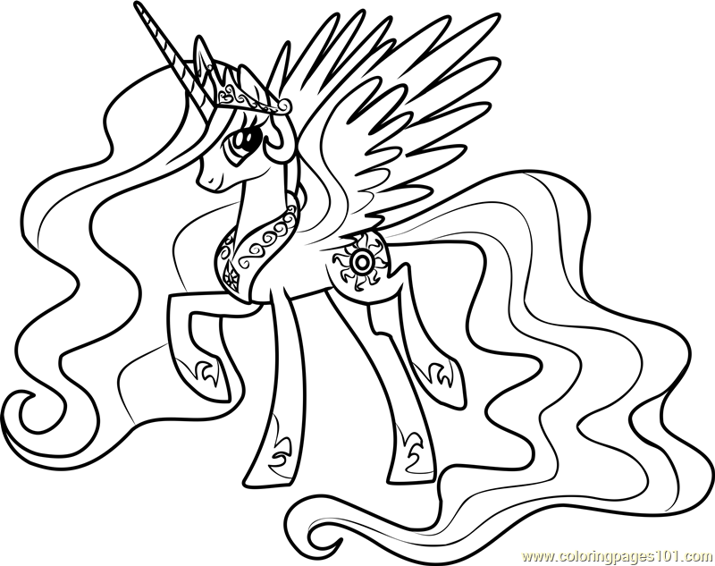 Princess Celestia Coloring Page Free My Little Pony My Pony Coloring Pages Princess Celestia In A Dress