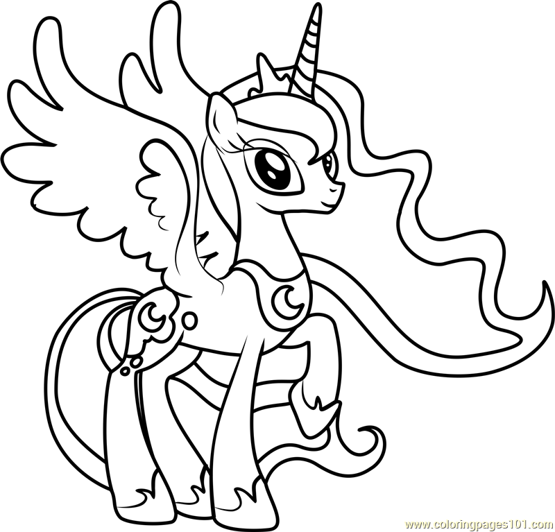 princess luna coloring page free my little pony